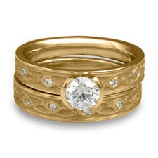 Extra Narrow Water Lilies Bridal Ring Set with Gems in 14K Yellow Gold