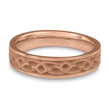 Narrow Water Lilies Wedding Ring in 14K Rose Gold
