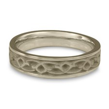 Narrow Water Lilies Wedding Ring in Stainless Steel