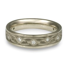 Narrow Water Lilies Wedding Ring with Gems in Diamond