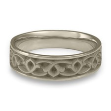 Wide Water Lillies Wedding Ring in 14K White Gold