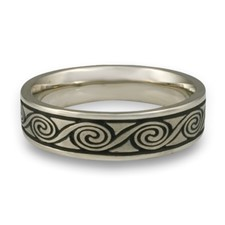 Narrow Rolling Moon Wedding Ring in 14K White Gold
