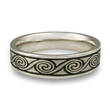 Narrow Rolling Moon Wedding Ring in Platinum