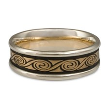 Narrow Two Tone Rolling Moon Wedding Ring in 14K White Gold Borders w 14K Yellow Gold Center