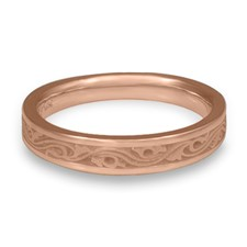 Extra Narrow Wind and Waves Wedding Ring in 14K Rose Gold