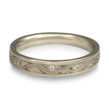 Extra Narrow Wind and Waves Wedding Ring with Gems  in 14K White Gold