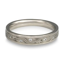 Extra Narrow Wind and Waves Wedding Ring with Gems  in Diamond