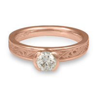 Extra Narrow Wind and Waves Engagement Ring in 14K Rose Gold