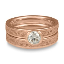 Extra Narrow Wind and Waves Bridal Ring Set in 18K Rose Gold