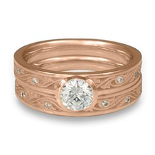 Extra Narrow Wind and Waves Bridal Ring Set with Gems in 14K Rose Gold