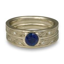 Extra Narrow Wind and Waves Bridal Ring Set with Gems in Sapphire