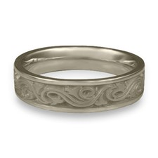 Narrow Wind and Waves Wedding Ring in 14K White Gold