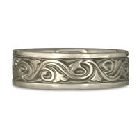 Wide Wind and Waves Wedding Ring in 14K White Gold