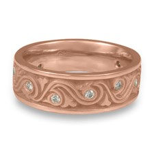 Wide Wind and Waves Wedding Ring with Gems  in 14K Rose Gold