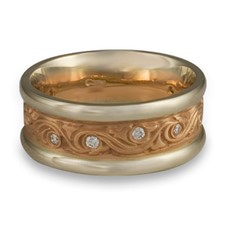 Two Tone Wind and Waves Wedding Ring With Gems in 18K White & Rose Gold