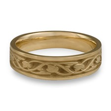 Narrow Tulips and Vines Wedding Ring in 14K Yellow Gold