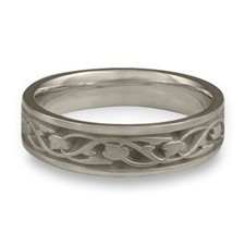 Narrow Tulips and Vines Wedding Ring in Stainless Steel