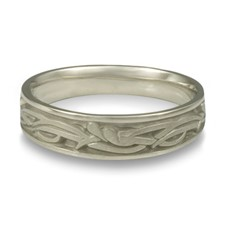 Narrow Paradise Flower Wedding Ring in Stainless Steel