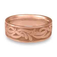 Wide Paradise Flower Wedding Ring in 14K Rose Gold