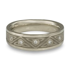 Narrow Trinity Knot Wedding Ring with Gems in 14K White Gold