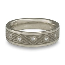 Narrow Trinity Knot Wedding Ring with Gems in Diamond
