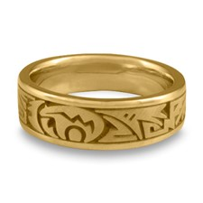 Wide Heartline Bear Wedding Ring in 14K Yellow Gold