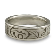 Wide Heartline Bear Wedding Ring in Palladium
