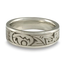 Wide Heartline Bear Wedding Ring in Platinum
