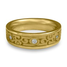 Narrow Luna Wedding Ring with Gems  in 18K Yellow Gold