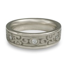 Narrow Luna Wedding Ring with Gems  in Diamond