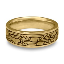 Wide Zen Garden Wedding Ring in 14K Yellow Gold
