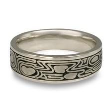 Wide Zen Garden Wedding Ring in Palladium