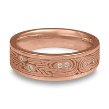 Wide Zen Garden Wedding Ring with Gems in 14K Rose Gold