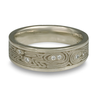Wide Zen Garden Wedding Ring with Gems in 14K White Gold
