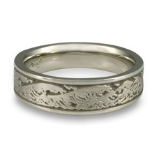 Narrow Wave Wedding Ring in Palladium