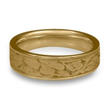 Narrow Cherry Blossom Wedding Ring in 14K Yellow Gold