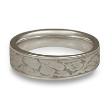 Narrow Cherry Blossom Wedding Ring in Palladium