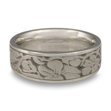 Wide Cherry Blossom Wedding Ring in Palladium