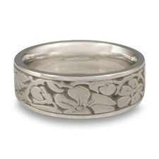 Wide Cherry Blossom Wedding Ring in Platinum