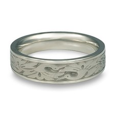 Narrow Cranes Wedding Ring in Palladium