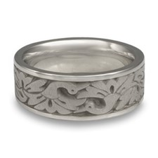 Wide Cranes Wedding Ring in Stainless Steel