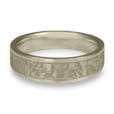 Narrow Bamboo Wedding Ring in 14K White Gold