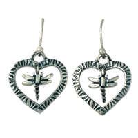 Taliesin Heart Dragonfly Earrings in Sterling Silver