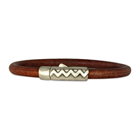 Zig Zag Leather Bracelet in Sterling Silver