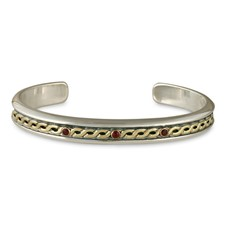 Rope Cuff Bracelet with Gem in Garnet