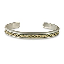 Rope Cuff Bracelet  in 14K Yellow Gold Design w Sterling Silver Base