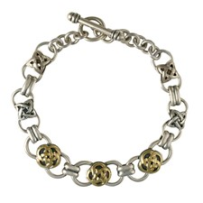 Gloria Bracelet in 14K Yellow Gold Design w Sterling Silver Base