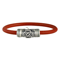 Finn Silver Leather Bracelet in Sterling Silver