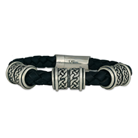 Arturo Leather Bracelet 8mm in Sterling Silver