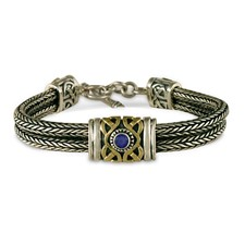 Sophia Bracelet in 14K Yellow Gold Design w Sterling Silver Base